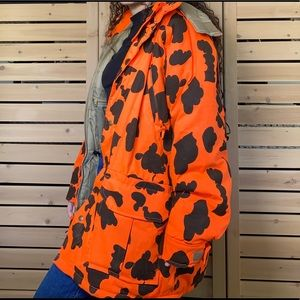 vintage orange cow print puffer jacket
